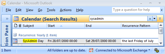 Using Field Chooser to find out when an Outlook appointment