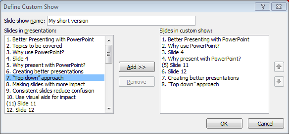 PowerPoint custom slide show dialogue