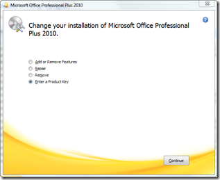 Office 2010 change installation wizard