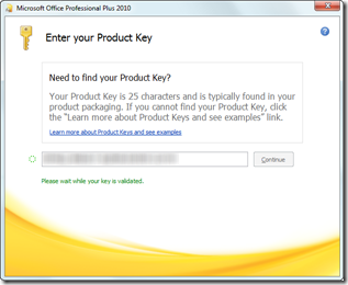 Office 2010 product key validation