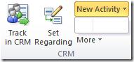 CRM Outlook client menus appear empty