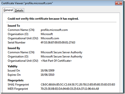Expired Microsoft Certificate