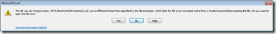 Click to see larger version - CRM Excel export error message