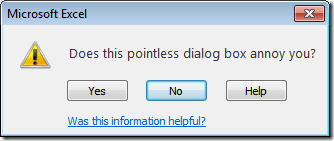 Pointless error message dialog box