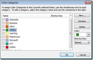Color Categories dialogue box