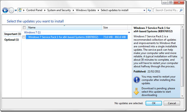 Windows 7 service pack 1 shown as hotifx KB976932 in Windows Update