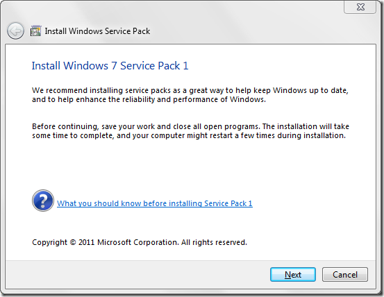 Windows 7 service pack 1 first step