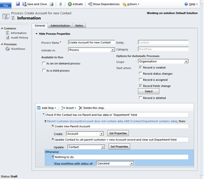 CRM Workflow to create new Account from Contact