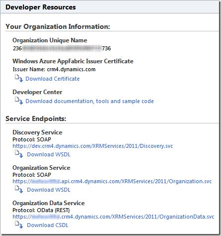 Developer Resources in CRM Online