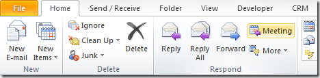 Outlook ribbon Reply with Meeting Request