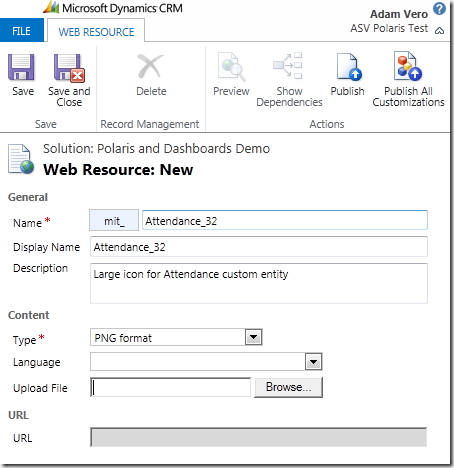 CRM 2011 New Web Resource