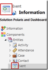 CRM Event entity showing new custom icons