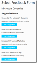 Connect Dynamics Feedback choice of suggestion forms