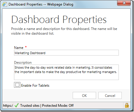 Dashboard properties CRM 2015